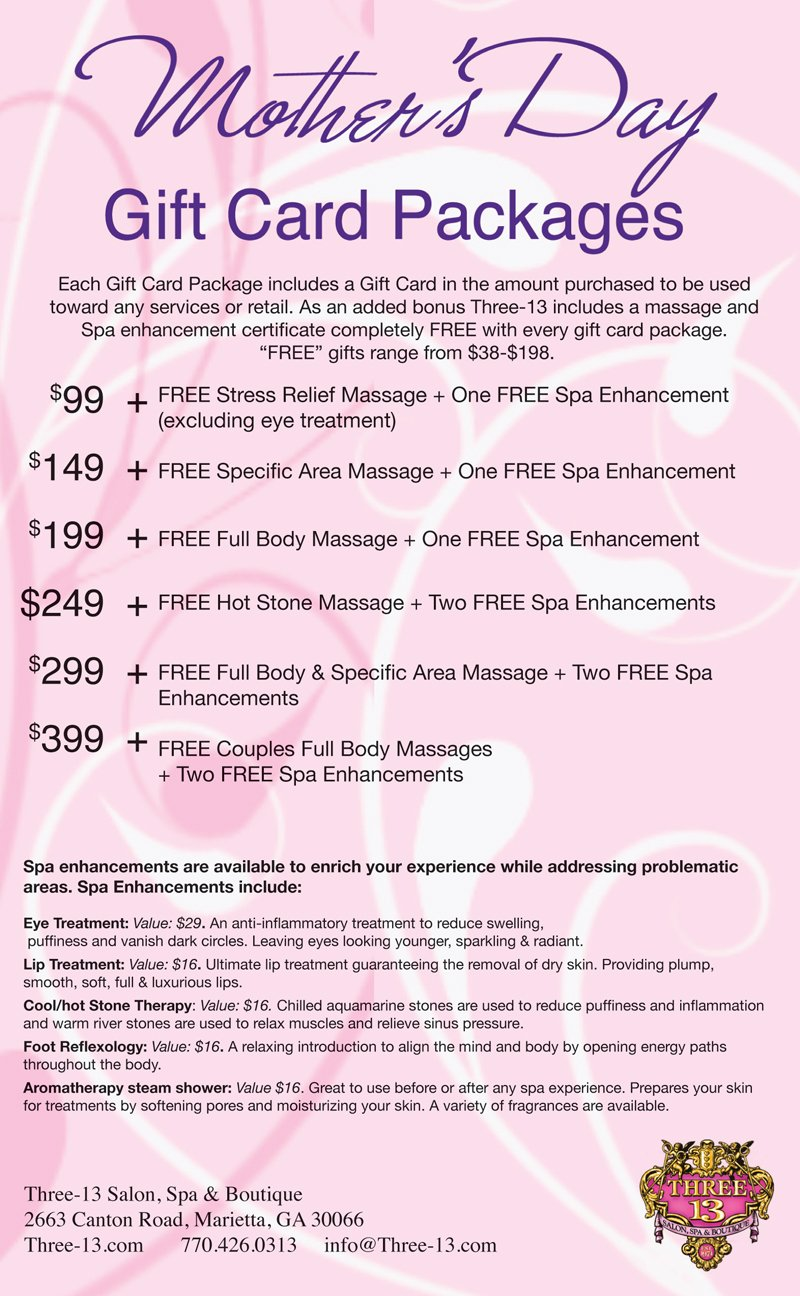 Three-13 Salon, Spa, and Boutique Mother's Day Packages