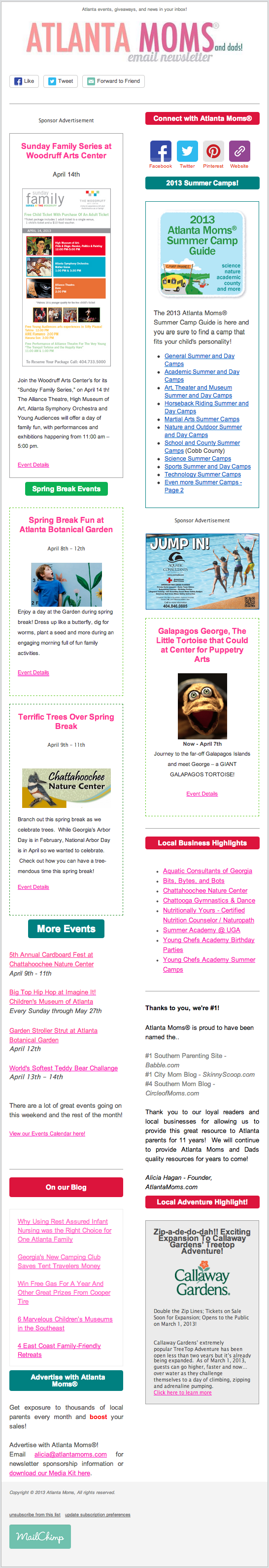 Atlanta Moms Weekly Newsletter - Sample